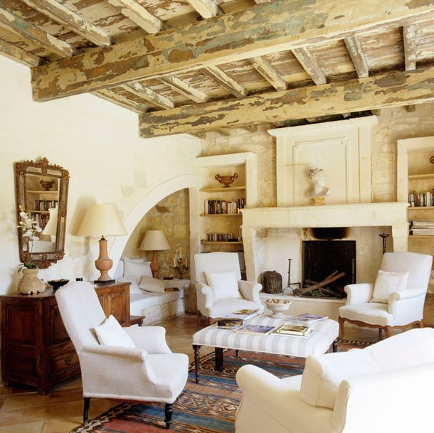 Former barn in Provence decorated by Sally Jeeves - love the nook in the corner: