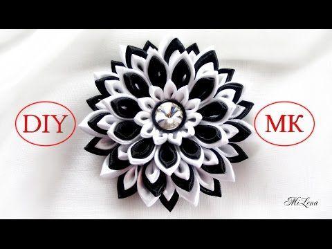Цветок канзаши, МК / D.I.Y. Kanzashi flower / Ribbon flower tutorial / Зажим с цветком канзаши - YouTube