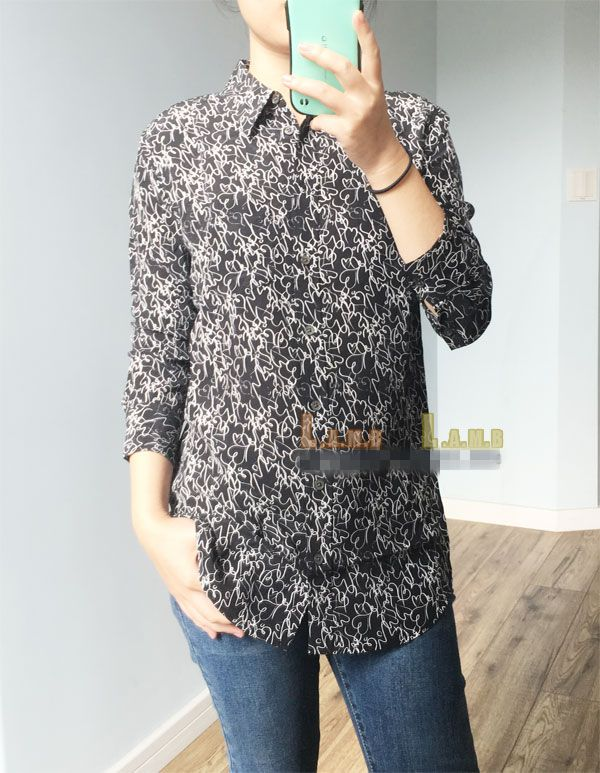 EQ  100% silk scrawl love heart  print ladies long sleeve blouses Equipment women sexy lucency shirt spring autumn