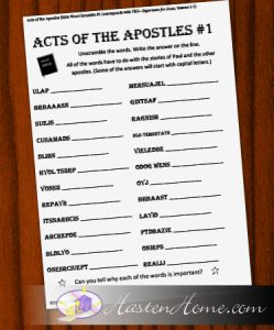 Something for the Children #51: Acts Bible word scramble puzzles