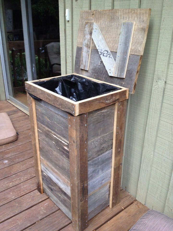 Rustic trash can designed for outdoor kitchen, made from reclaimed barnwood.