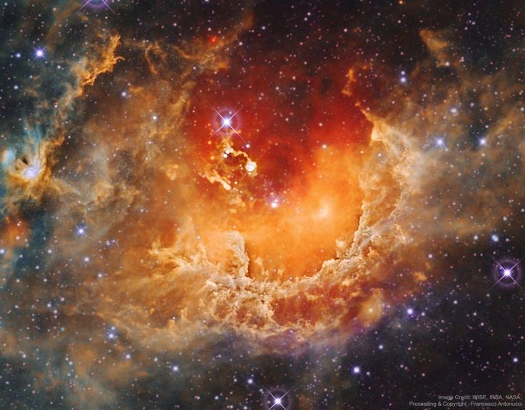 Star Formation in the Tadpole Nebula : Whats all of the commotion in the Tadpole nebula? Star formation. Dusty emission in the Tadpole nebula, IC 410, lies about 12,000 light-years away in the...