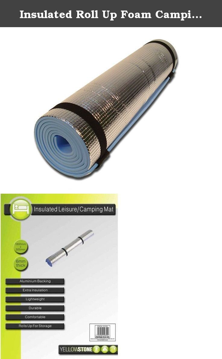 Insulated Roll Up Foam Camping Mat. 1 x Yellowstone Camping Mat With Aluminium Foil. Size: 1800mm x 500mm, 6mm thick.