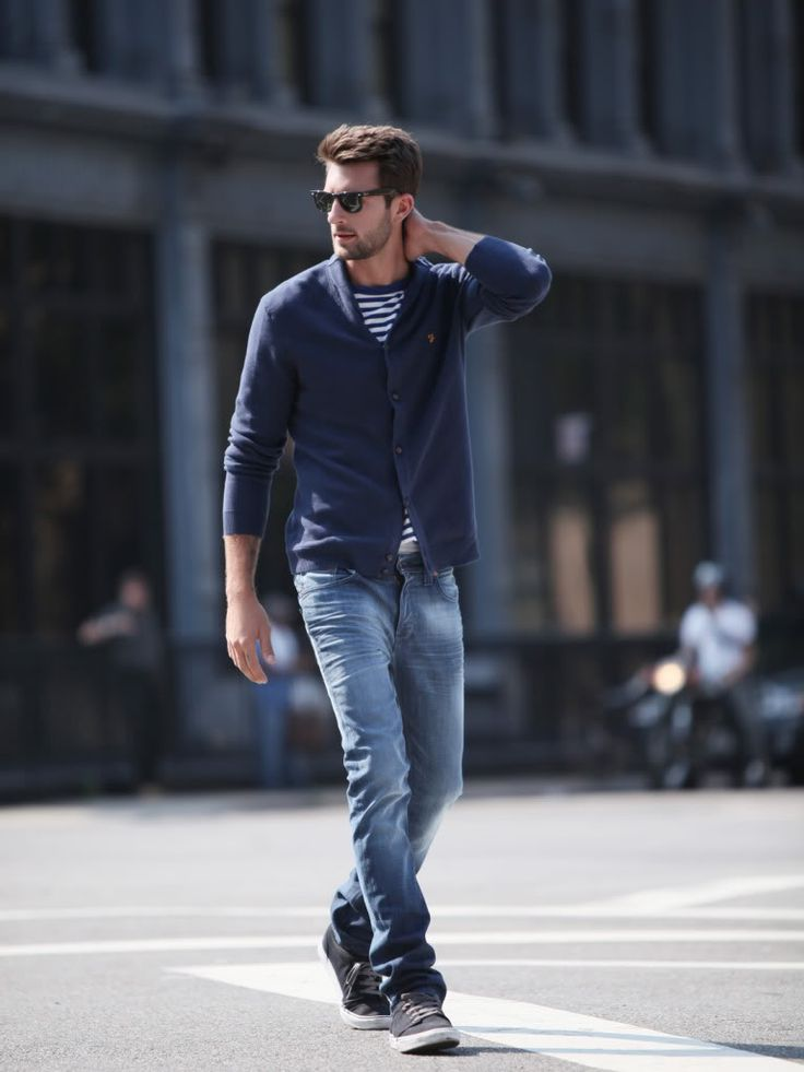 : Fashion Outfit, Men Clothing, Casual Style, Guys Style, Men Style, Blue Jeans, Men Fashion, Casual Looks, Navy Cardigans