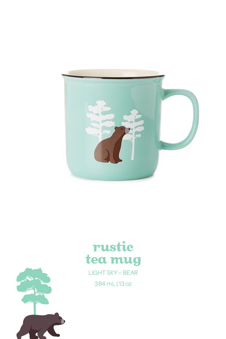 Take a sip on the wild side with this porcelain mug with cute bear prints.