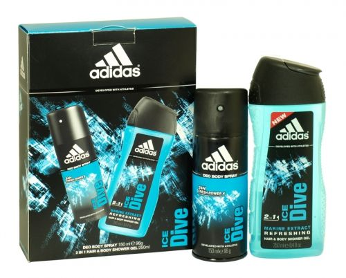 Adidas 2 piece deodorant & shower gel gift set ice dive