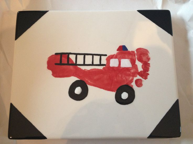 Fire truck footprint - this would make a cute coaster/framed art for a Father's Day gift