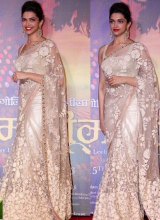 White Brasoo Work Designer Bollywood Saree http://www.angelnx.com/Sarees/Bollywood-Sarees