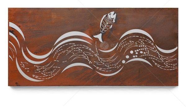 Natural Rust Ocean Wall Art - Surf Wave #3