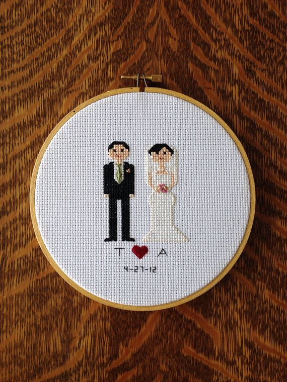 Bride and Groom Wedding Cross Stitch Custom Order on Etsy, £18.17