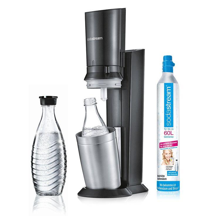 SodaStream CRYSTAL 2.0 Glaskaraffen Wassersprudler zum Sprudeln von Leitungswasser, mit spülmaschinenfester Glasflasche für Sprudelwasser. inkl. 1 Zylinder und 2 Glaskaraffen 0,6l; Farbe: titan: Amazon.de: Küche & Haushalt