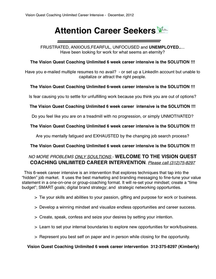 Career Intensive for the job seeker Vision quest, Resume