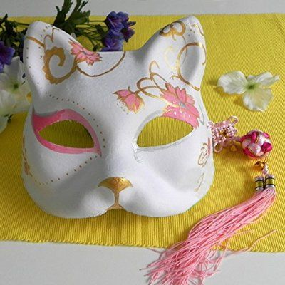 2015 - Half Face Hand-Painted Japanese Fox Mask Kitsune Masquerade Pink Flower Pattern for Party Halloween