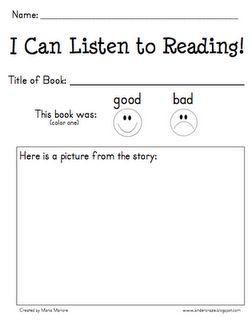 Listen to Reading response sheet: Class Books, Classroom Listening, Kindergarten Reading, Listening Station, Daily 5 Reading, Kindergarten Ideas, Reading Center, Listening Center, Audio Books