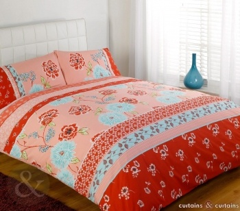 red floral vintage duvet cover