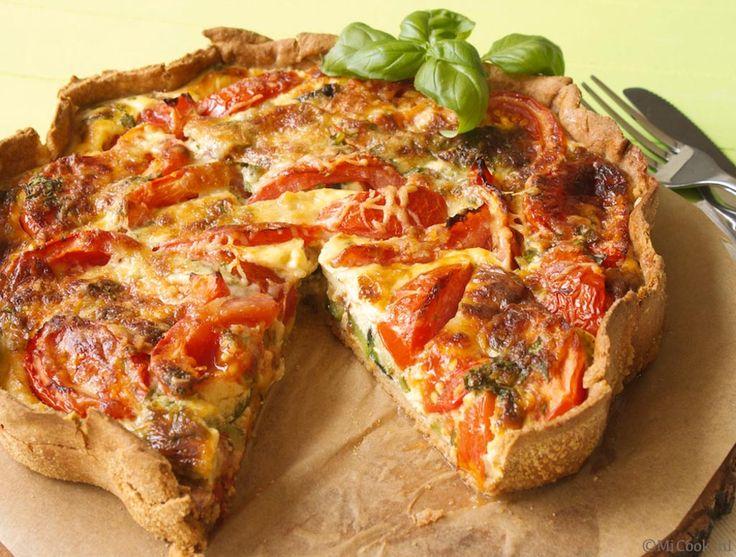 Hartige taart met courgette en tomaat: juli, augustus, september, oktober