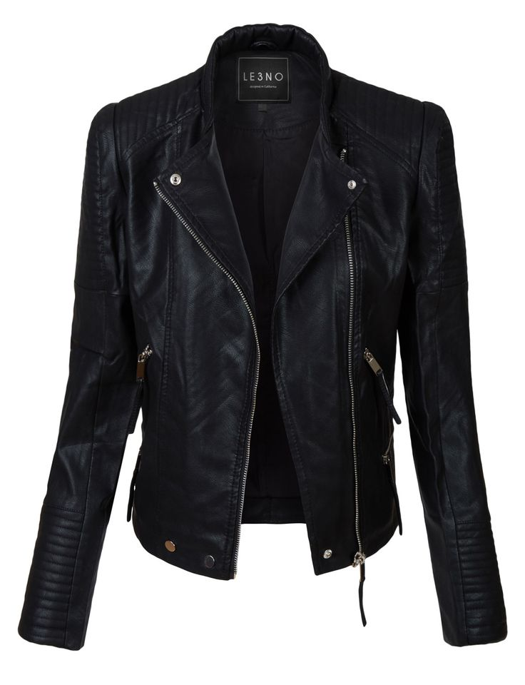 LE3NO Womens Vintage Quilted Long Sleeve Faux Leather Moto Biker Jacket. wearethebikers.com, Skull, Biker, Motorcycle, Men, Women, Goth, Fashion, Leather, Cool, Holiday.