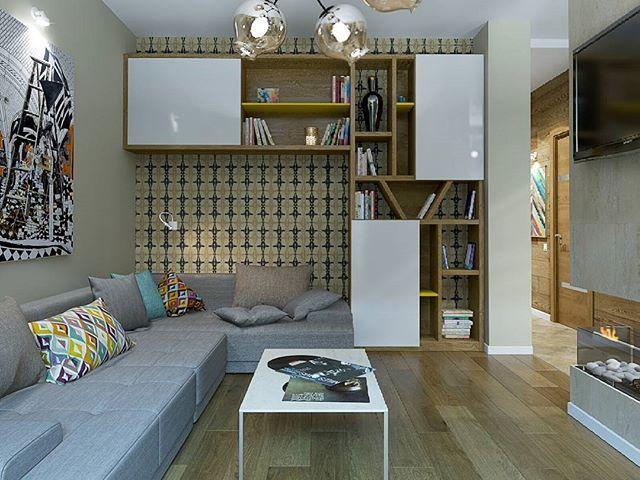 Идея использования стены: и шкаф, и диван, и уголок для чтения
