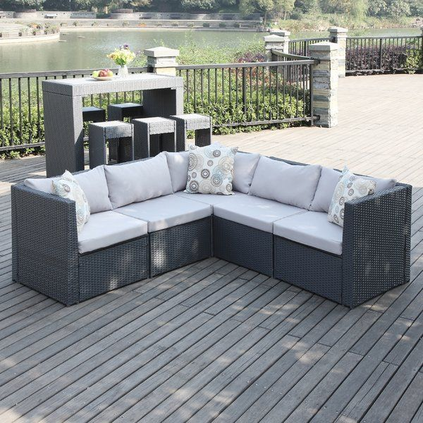 Invite Girlfriends Over For Cosmos And Conversation By The Pool With This Chic Wicker Sectional The Agai Patio Sectional Unique Patio Furniture Havenside Home