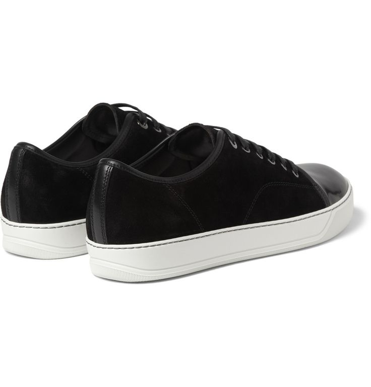 Lanvin - Suede and Patent-Leather Sneakers|MR PORTER