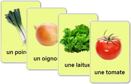 Free printable flashcards to learn vegetables in French - audio exercises also found on the same site