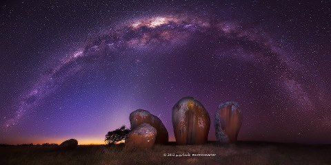 This image, taken by Dylan Toh, shows the Milky Way over Murphy's Haystacks, which are inselberg rock formations found between Streaky Bay and Port Kenny on the Eyre Peninsula in South Australia. Image: Dylan Toh, Everlook photography http://www.everlookphotography.com/ https://www.facebook.com/everlookphotography