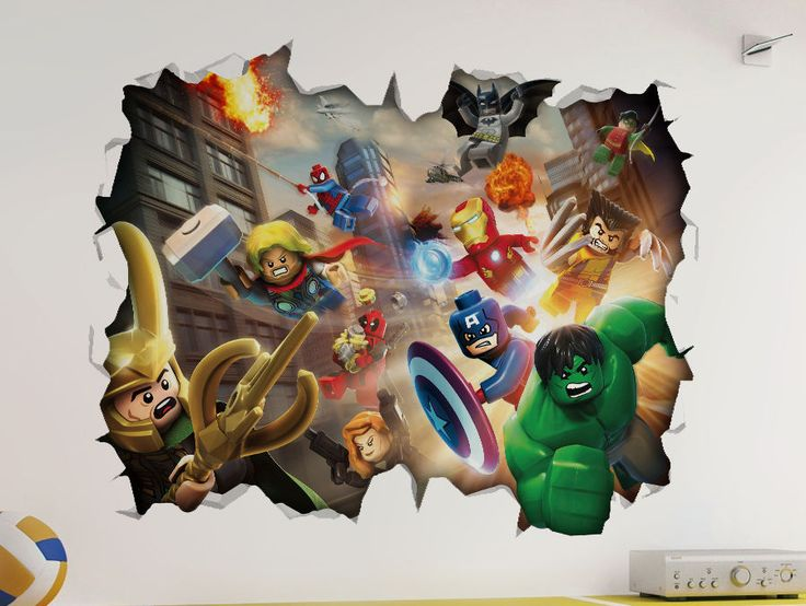 Marvel Lego 3D Look Wall Vinyl Sticker - Avengers Childrens Bedroom Mural in Home, Furniture & DIY, Home Decor, Wall Decals & Stickers | eBay
