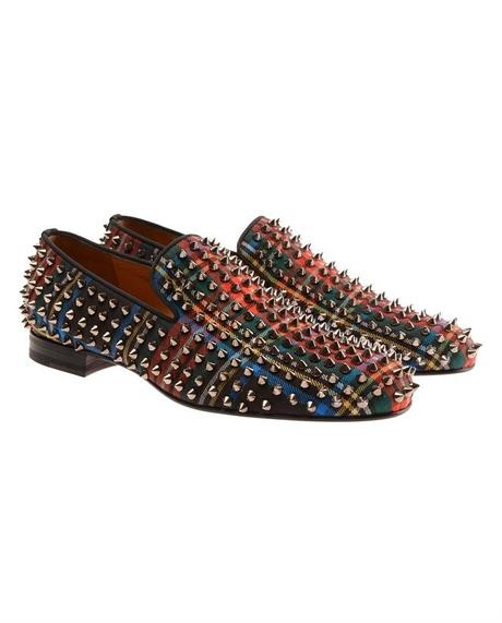 Christian Louboutin Rollerboy Spiked Tartan Dress Slippers in ...
