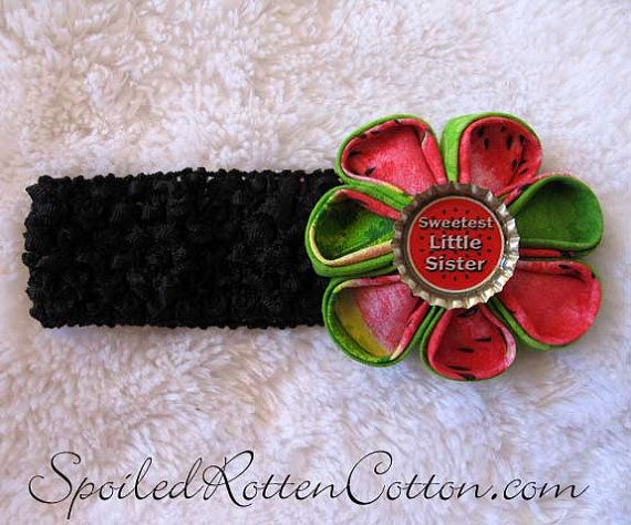 http://www.facebook.com/pages/Spoiled-Rotten-Cotton-Boutique/132728380133473  Watermelon Sweetest Little Sister Folded Fabric Flower Kanzashi: Kannzashi Flowers, Fabric Flowers, Flowers Kanzashi, Fabrics Flowers