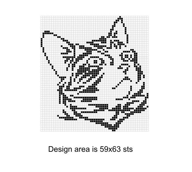Cat Face Counted Chart Filet Crochet Graph Cat Counted Etsy Mini