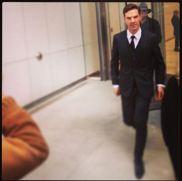 Benedict Cumberbatch coming  outside @Hugo Ahlberg Ahlberg Ahlberg