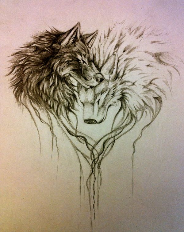 The mixture of illustration, loving tone, and line art open up the possibilities of placement and subject. This wolf love makes us feel all warm and loving. [p-ink.org]