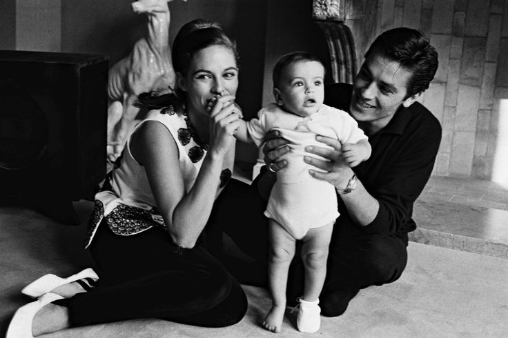 Alain Delon with Nathalie and Anthony, 1965.