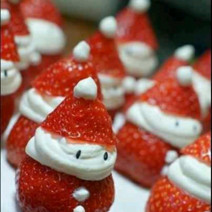 These are so cute & Yummy. :)   http://operationsanta.com/strawberry-santas/
