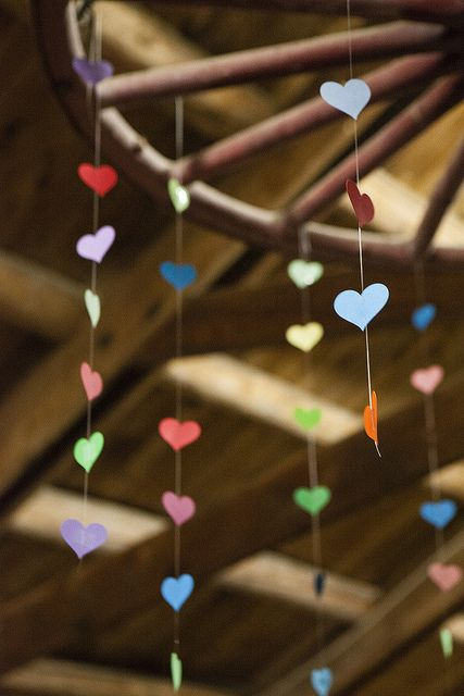 heart garland from Jamie & Jon's three-day summer camp wedding | Offbeat Bride