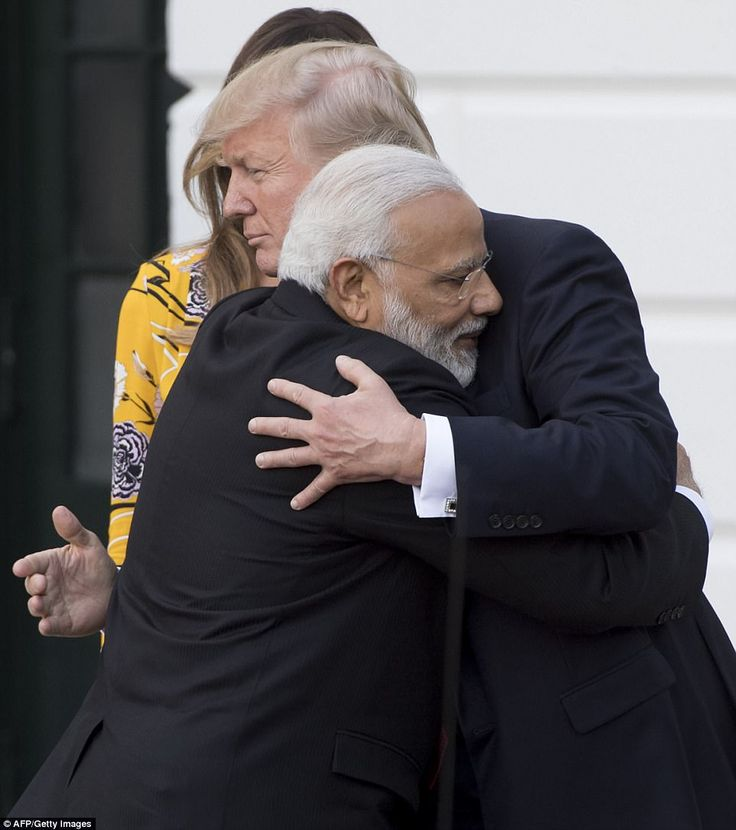 Another hug: Trump and Modi embrace again as they say goodbye Monday evening