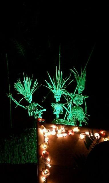 skeletons on tiki bar - Halloween Pool Decorations
