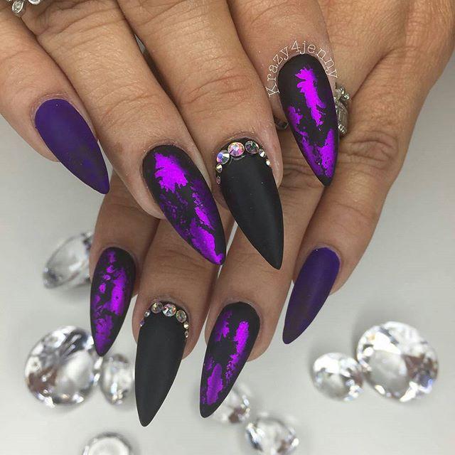 WEBSTA @ chellys_nails - Jenny slayed these!@Regrann from @krazy4jenny -  Purple Love. Black And Purple Nail Designs ... - Black And Purple Nail Designs Graham Reid