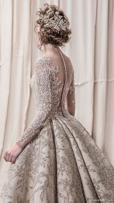 krikor jabotian spring 2018 bridal long sleeves scoop neck full embellishment gl…