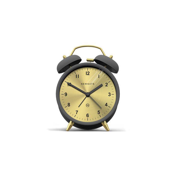 A contemporary grey twin bell alarm clock with a spun brass dial.
