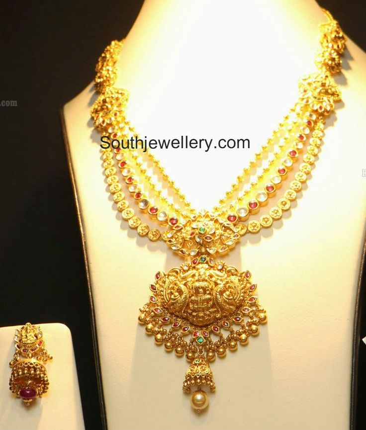 Layered Temple Necklace with Lakshmi Pendant ~ Latest Jewellery Designs