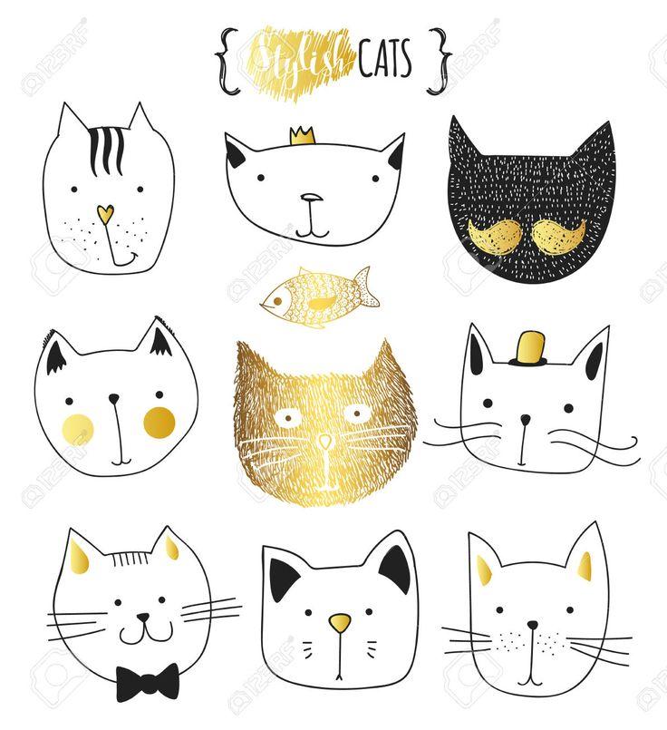 Набор милые каракули кошек. Эскиз кошки. Эскиз Cat. Cat ручной работы. Версия для печати футболки для кошки. Печать для одежды. Doodle Дети животных. Стильные морда кошки. Изолированные кошка. Pet Клипарты, векторы, и Набор Иллюстраций Без Оплаты Отчислений. Image 52987559.