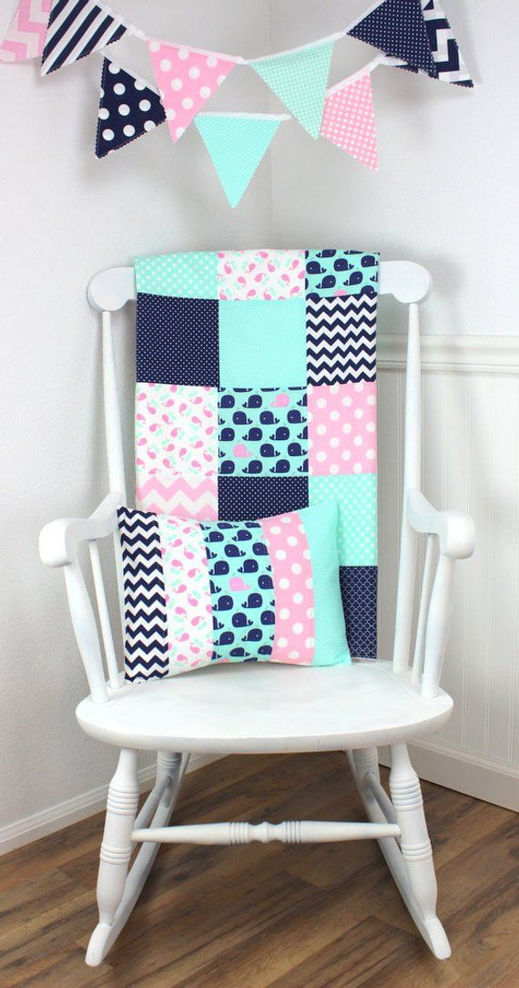 Whale Patchwork Girl Quilt, Nautical Nursery Decor, Minky Baby Blanket – Baby Pink, Navy Blue and Mi