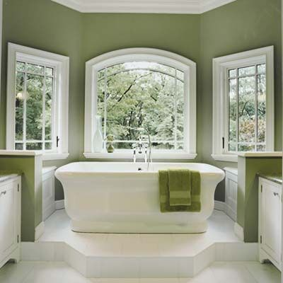 A Waterworks tub tucked into a bay window soaks up natural light and scenic vistas. | Photo: Jurgen Frank | thisoldhouse.comWall Colors, Bathroom Colors, Green Wall, Beautiful Bathroom, Green Bathroom, Bathroom Ideas, White Bathroom, Master Bath, Painting Colors