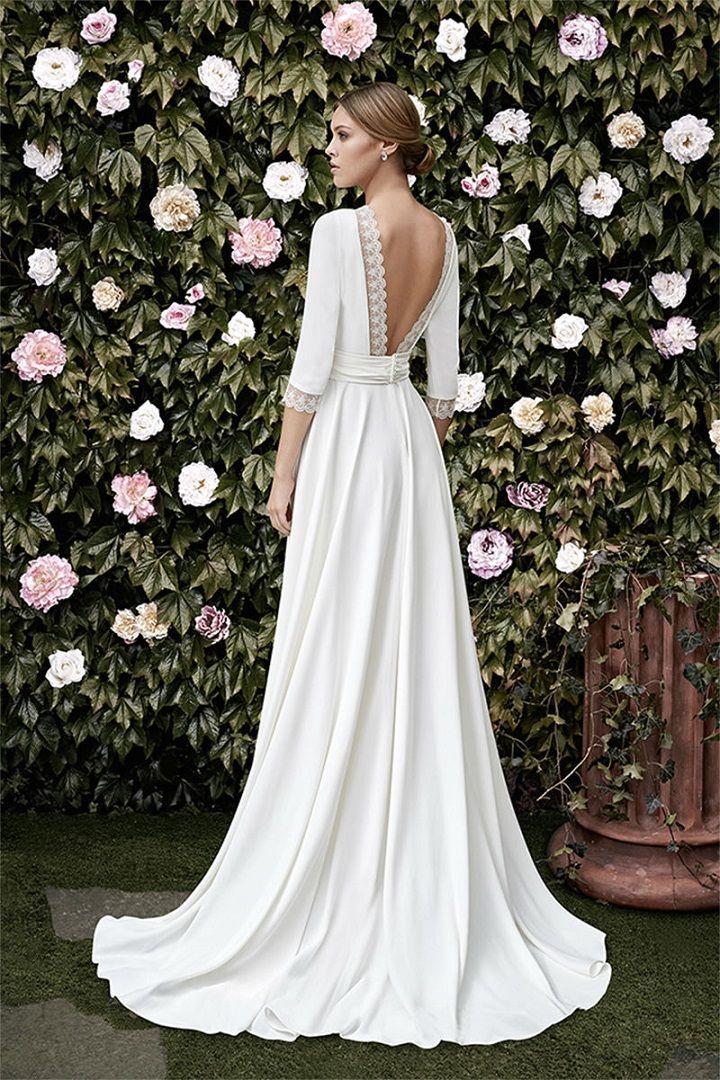 Langes Hochzeitskleid | 3/4 Länge Ärmel Brautkleid #Weddingdress #weddi … #a…