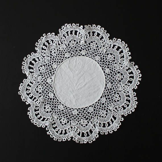 Mid-century vintage finest crochet doily 100% cotton white