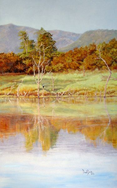 Sanyati River, Lake Kariba, Zimbabwe.Oil on Canvas. Painting by Dinah Beaton
