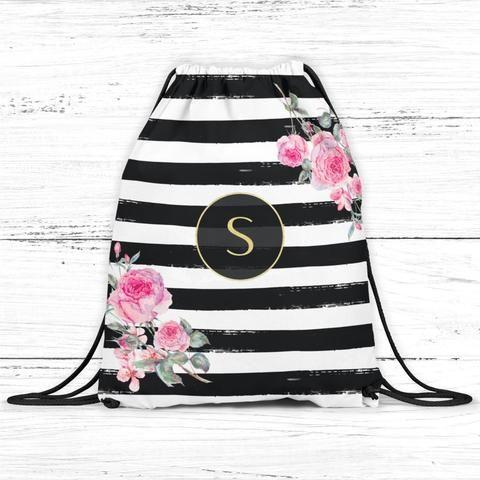 Striped Floral Monogram Drawstring Bag Backpackdrawstring backpack/bag. This personalized backpack/bag...