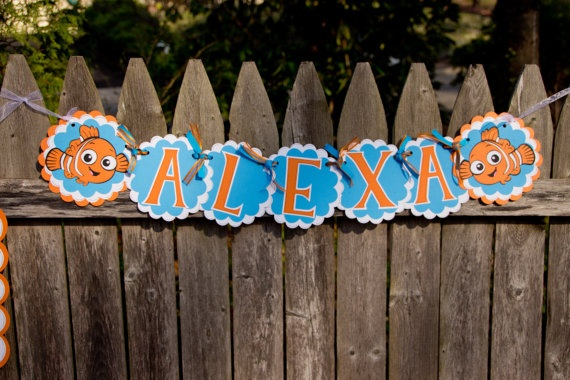 Finding Nemo Birthday Banner Personalized by 4HeartsPaperCraftCo, $23.00