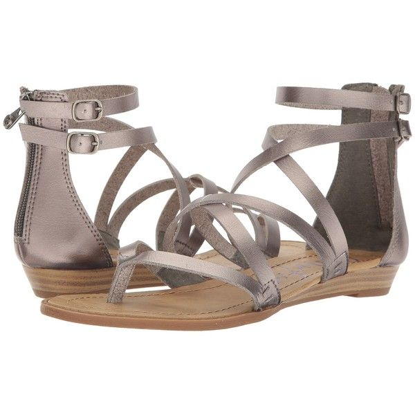 Blowfish Bungalow (Pewter Dyecut PU) Women's Sandals ($39) ❤ liked on Polyvore featuring shoes, sandals, criss cross strap sandals, open toe sandals, strap sandals, zip back sandals and strappy wedge sandals